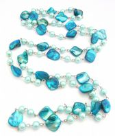 Long Blue faux Pearl And Shell Flapper Necklace.